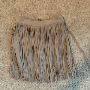 Grey suede fringe skirt